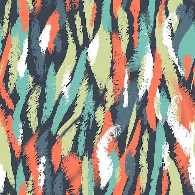 Motif nordique sans couture. abstrait ethnique avec des coups de pinceau. frottis et taches multicolores chaotiques. conception de vecteur sans fin pour la texture, papier peint, textile, papier d'emballage, carte, impression. Vecteur Premium