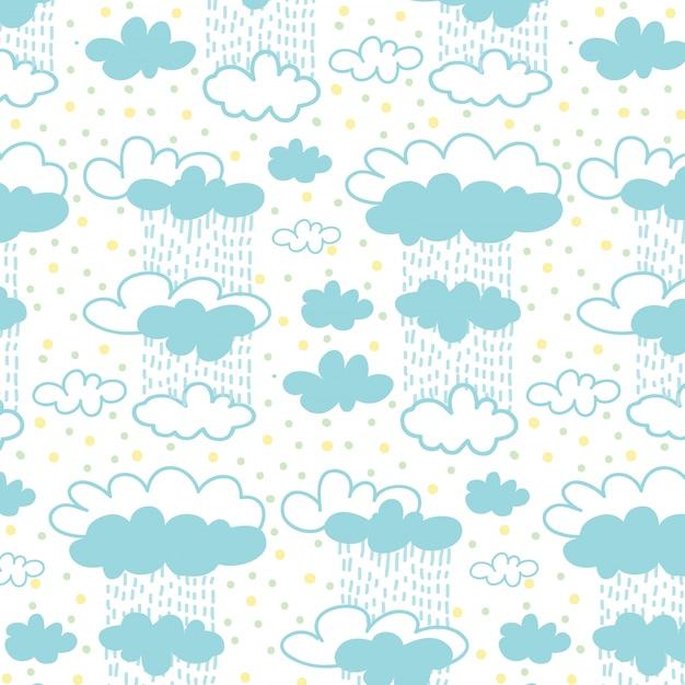 Motif nuage ciel et pluie avec fond de points colorés. Vecteur Premium