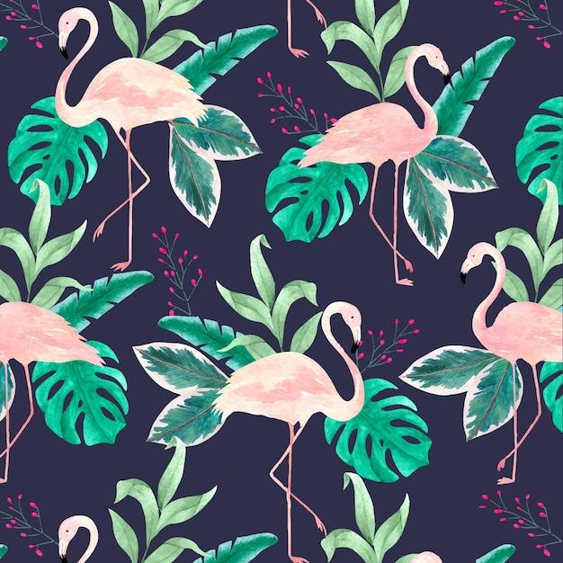 Motif Oiseau Flamant Rose Avec Des Feuilles Tropicales Vecteur Premium