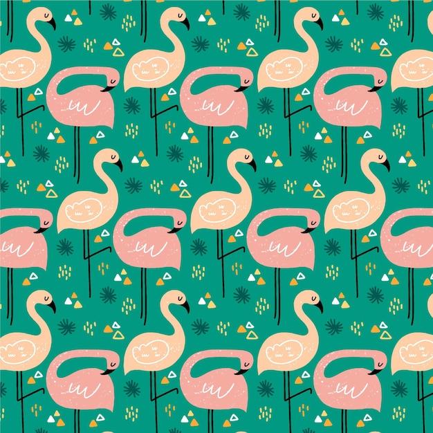 Motif D'oiseau Flamant Rose Illustré Vecteur Premium