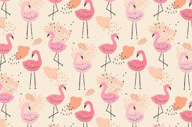 Motif Oiseau Flamant Rose Pâle Vecteur Premium
