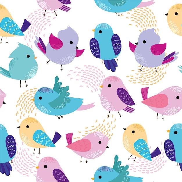 Motif avec des oiseaux colorés mignons. Vecteur gratuit