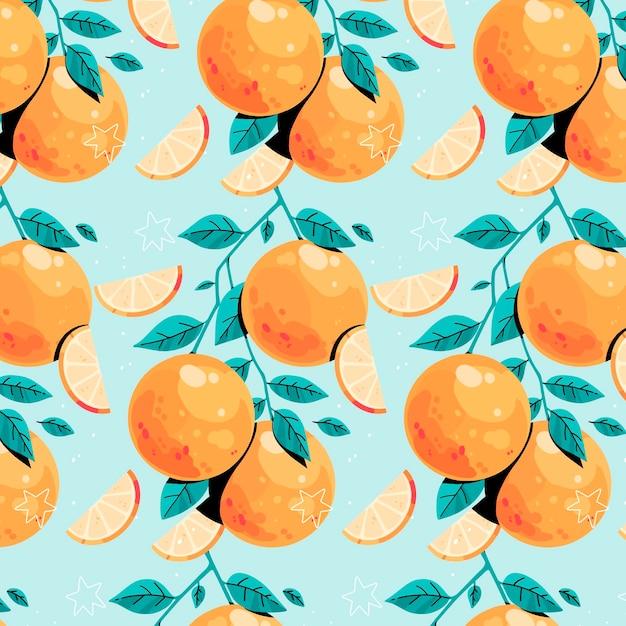 Motif Orange Sur Fond Bleu Vecteur gratuit