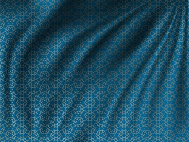 Motif oriental doré sur tissu de soie ondulé Vecteur Premium
