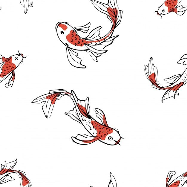 Motif Oriental Sans Couture Avec Carpes Japonaises Koi. Un Symbole De Bonne Chance. Fond Asiatique, Illustration. Imprimé En Tissu Naturel. Vecteur Premium