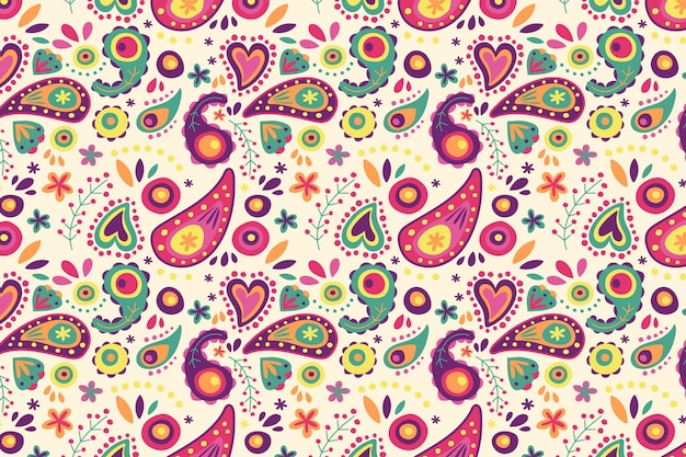 Motif Paisley Coloré Vecteur gratuit