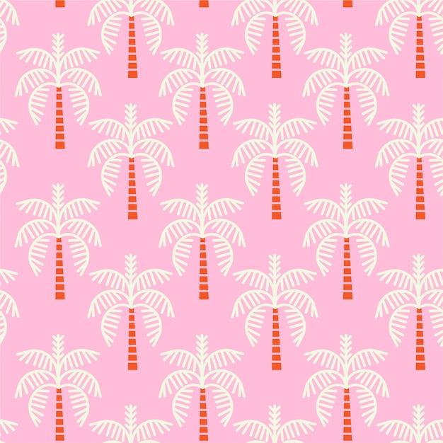 Motif de palmiers roses Vecteur Premium