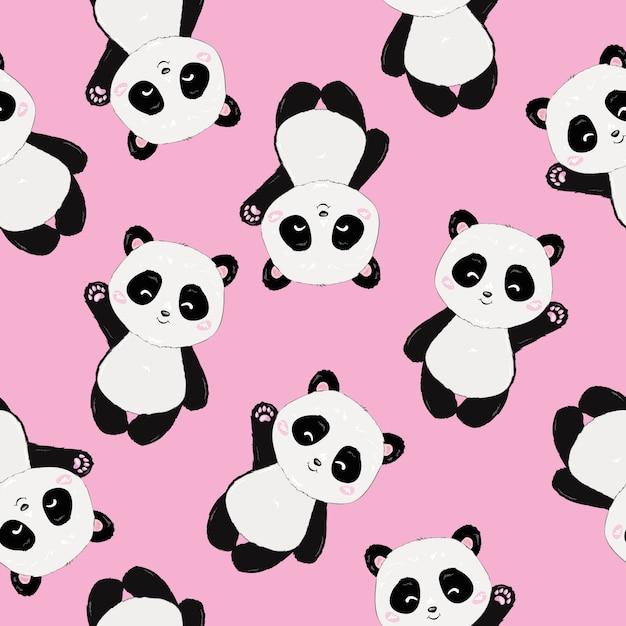 Motif de panda cartoon mignon sans soudure Vecteur Premium