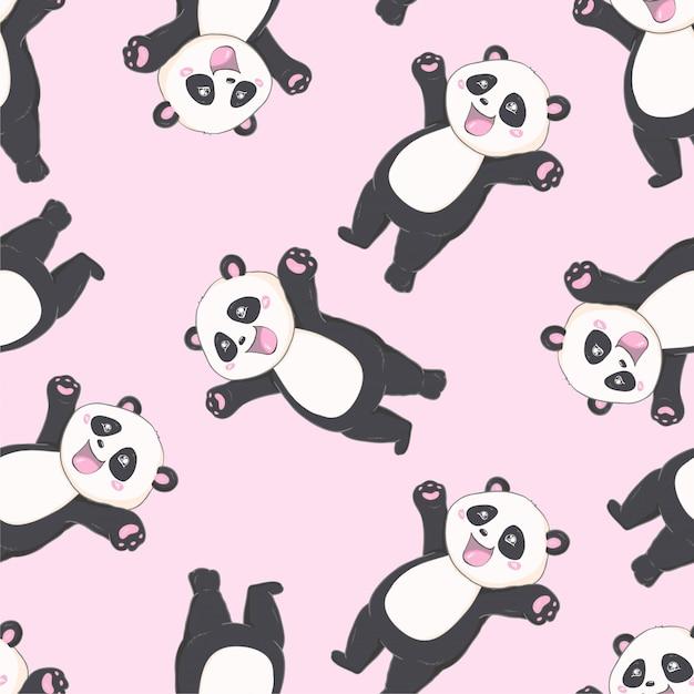 Motif de panda sans couture cartoon Vecteur Premium