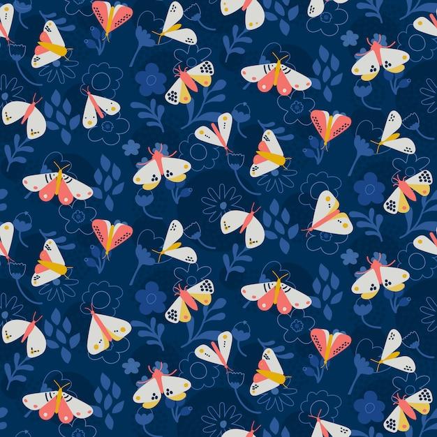 Motif Papillon Sur Fond Bleu Foncé Avec Des Fleurs Vecteur Premium