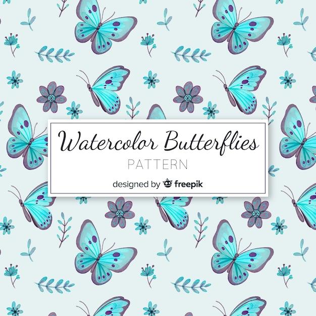 Motif De Papillons Aquarelle Vecteur gratuit