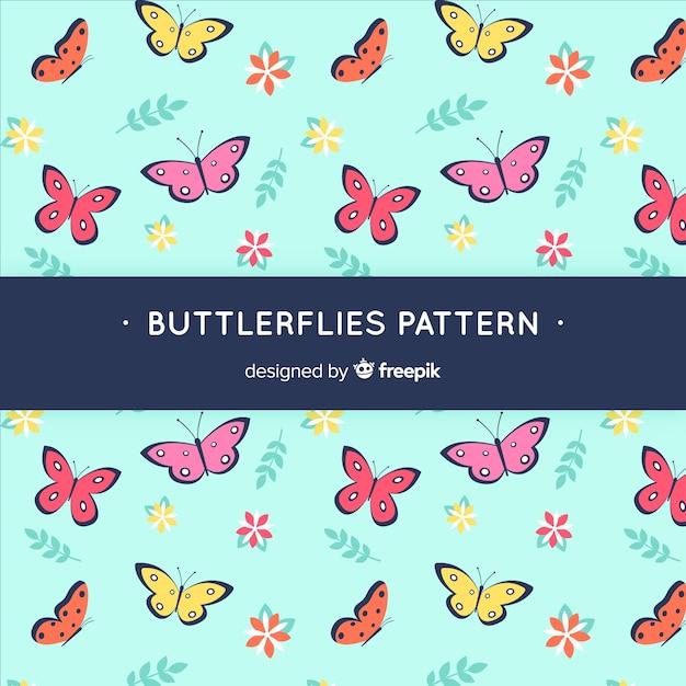 Motif De Papillons Plats Vecteur gratuit