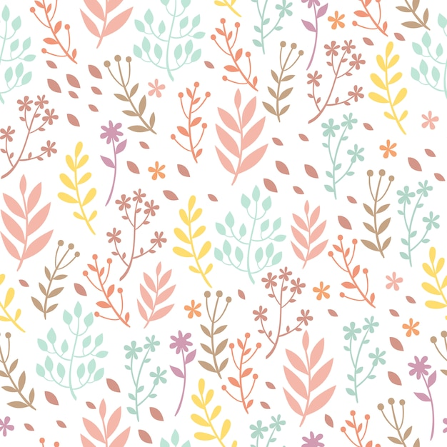 Motif Pastel Avec Des Plantes Vecteur gratuit