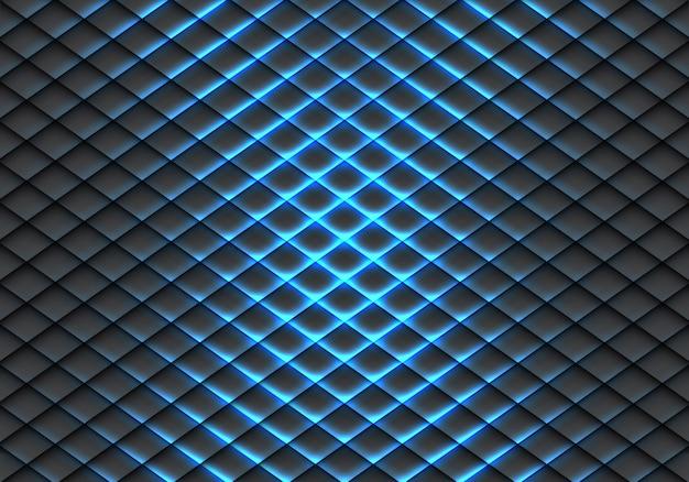 Motif de peau de poisson ligne de lumière bleue sur fond gris foncé. Vecteur Premium