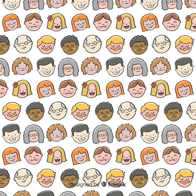 Motif de personnes dessiné à la main Vecteur gratuit