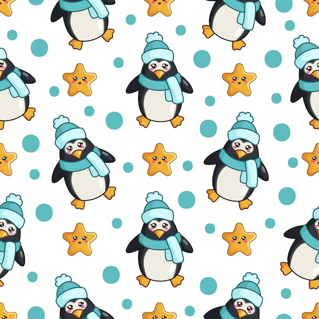 Motif Pinguin Vecteur Premium