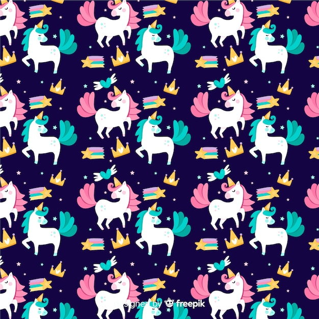 Motif plat de licorne Vecteur gratuit