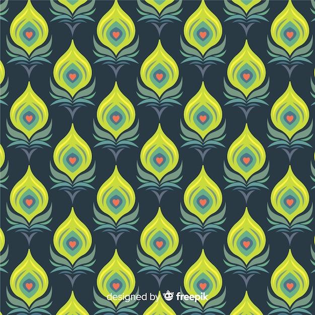 Motif de plumes de paon avec un design plat Vecteur gratuit