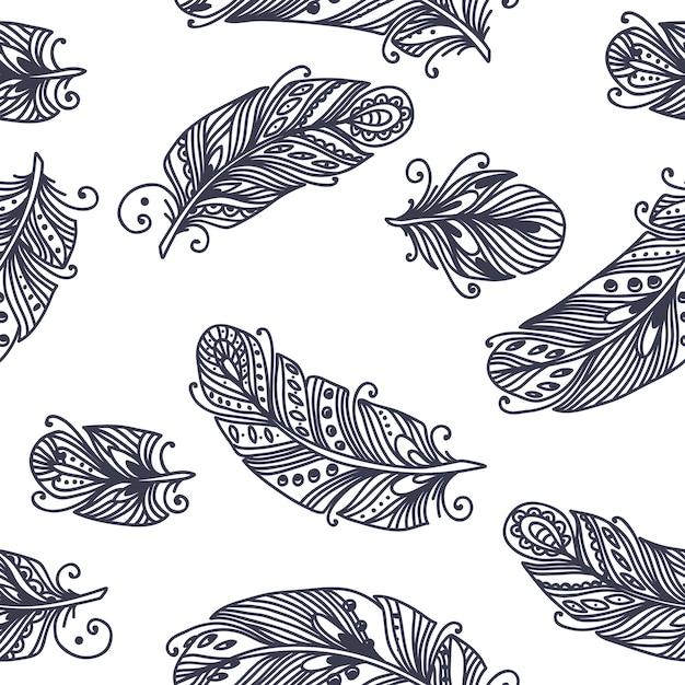 Motif de plumes sans couture vintage Vecteur Premium