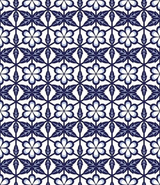 Motif De Polygone Croisé Feuille Fleur Ronde Bleue Transparente Vecteur Premium