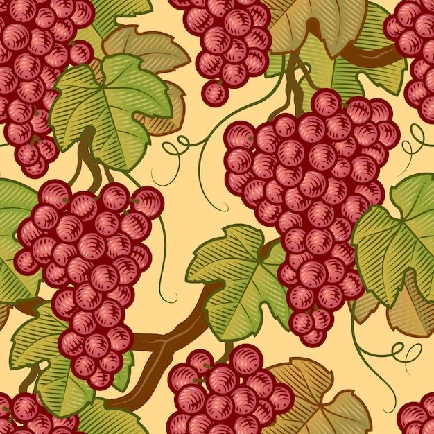Motif de raisins sans soudure Vecteur Premium