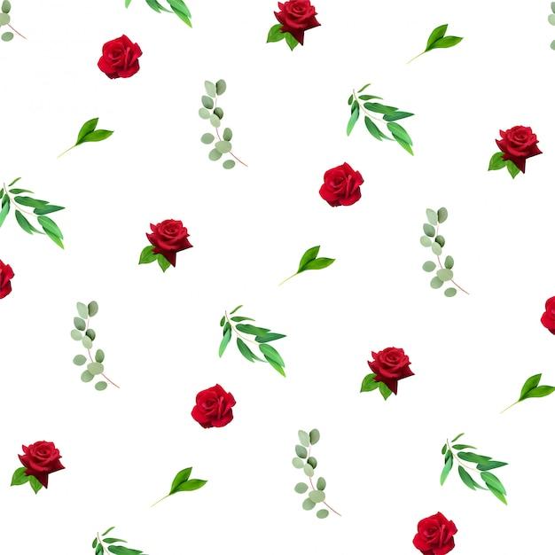 Motif réaliste floral Vecteur Premium