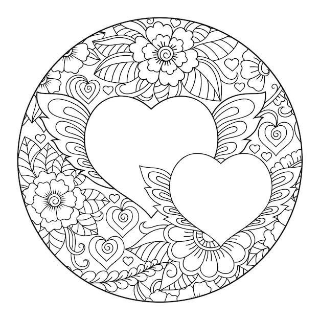 Motif Rond Fleur Mehndi Et Coeur. Décoration De Style Ethnique Oriental, Indien. Page De Livre De Coloriage. Vecteur Premium