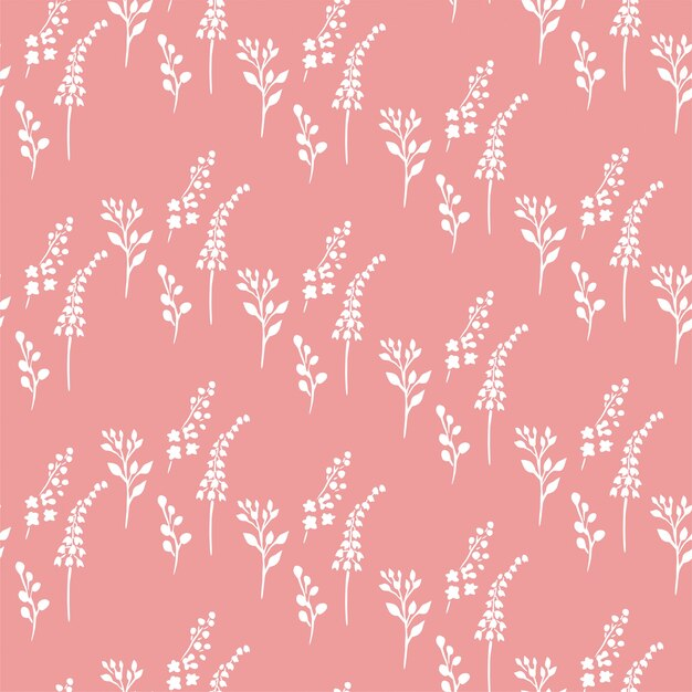 Motif rose petites plantes Vecteur Premium