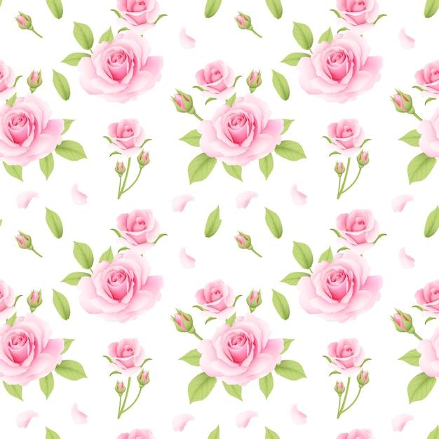 Motif de roses rose sans soudure Vecteur Premium