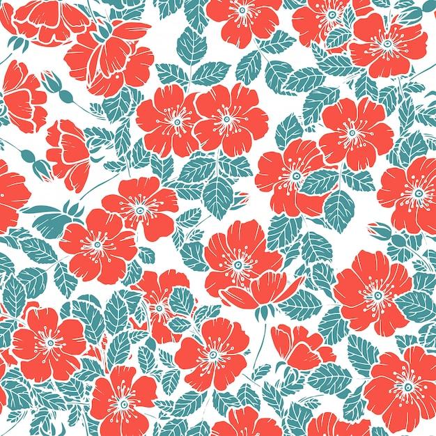 Motif Rouge De Fleurs De Cerisier Sans Soudure Vecteur Premium