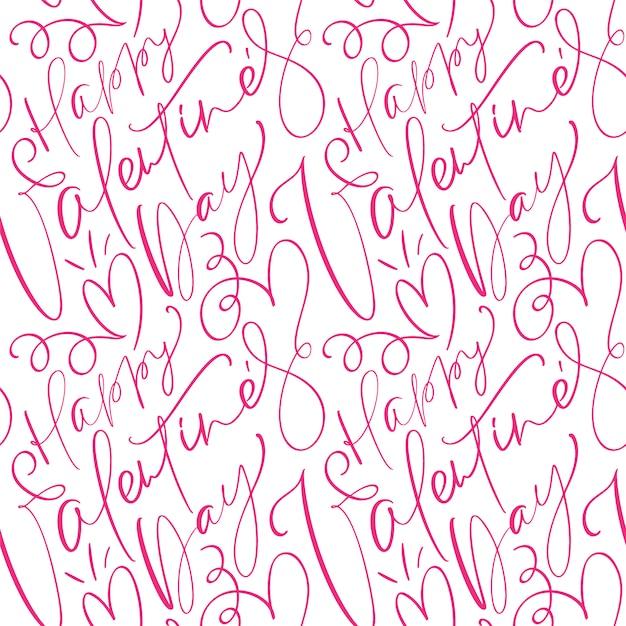 Motif De La Saint-valentin Avec Du Texte Calligraphique Mignon Happy Valentines Day Vecteur Premium