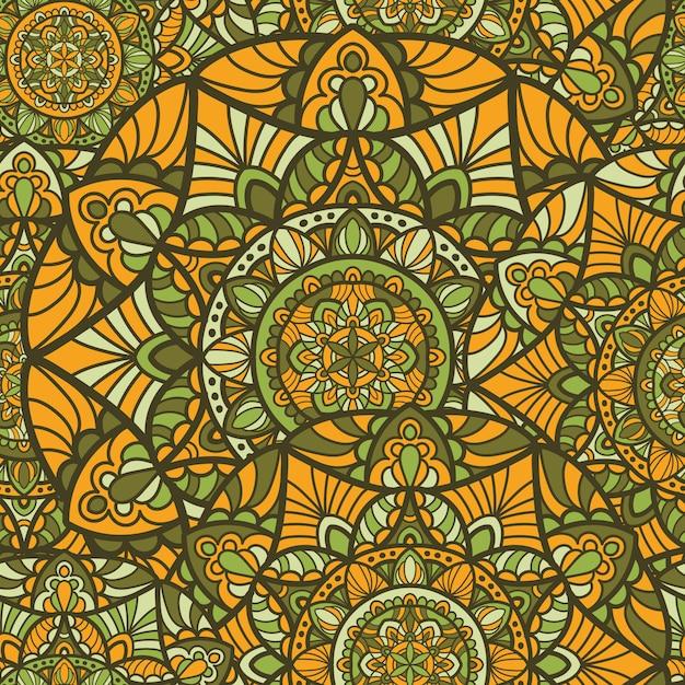 Motif sans couture mandala vectoriel pour l'impression. ornement tribal. Vecteur Premium