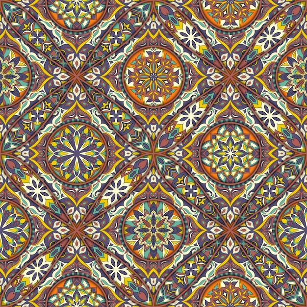 Motif sans soudure floral ethnique avec des éléments de mandala vintage. Vecteur Premium