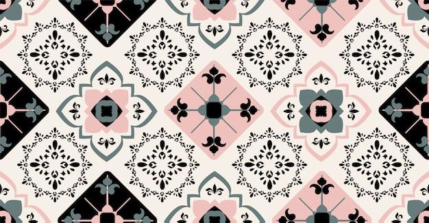 Motif sans soudure géométrique rose noir vert en style africain avec forme de cercle carré, tribal, Vecteur Premium