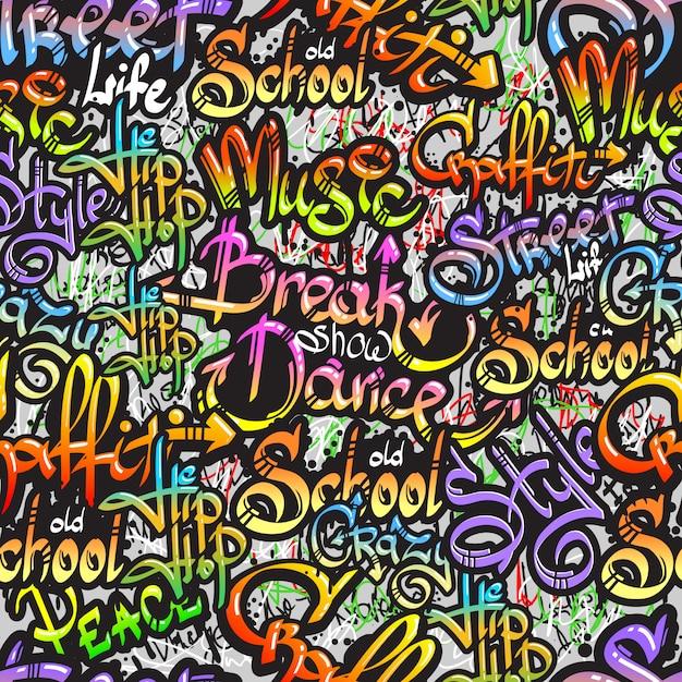 Motif Sans Soudure De Mot Graffiti Vecteur Premium