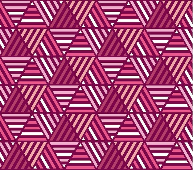 Motif sans soudure de rayures de couleur rose. illustration vectorielle d'ornement répétable de mosaïque Vecteur Premium