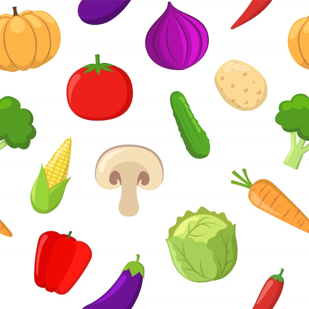 Motif De Seamlees De Légumes Vecteur Premium