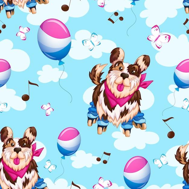 Motif sportif chien drôle sur patins à roulettes, ballons, ciel et nuages. Vecteur Premium