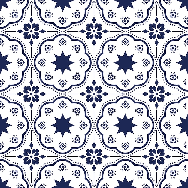 Motif Talavera Azulejos Portugal Carrelage Marocain Vecteur Premium