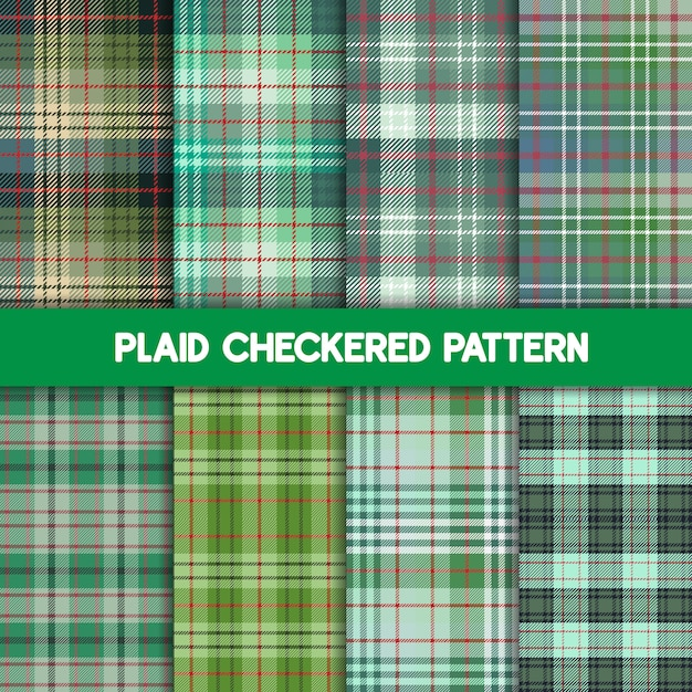 Motif Tartan Et Collection Verte Transparente. Vecteur Premium