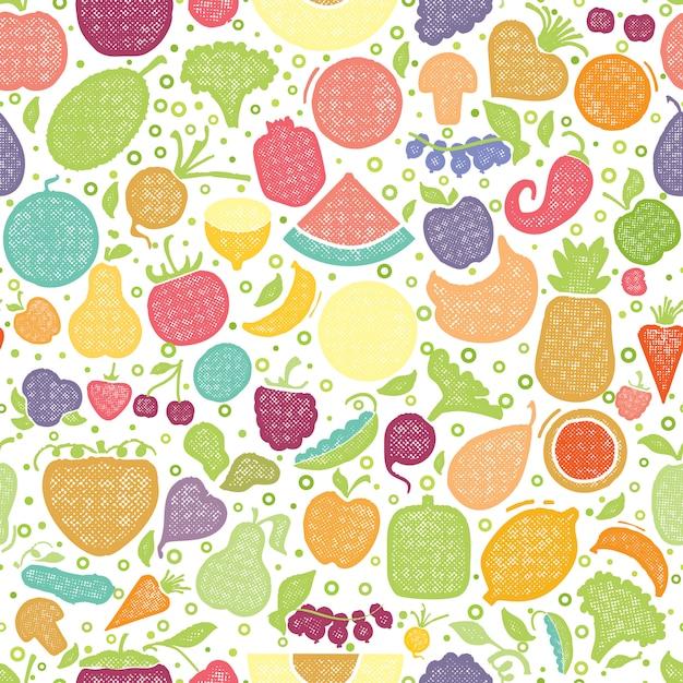 Motif texturé de fruits et légumes Vecteur Premium