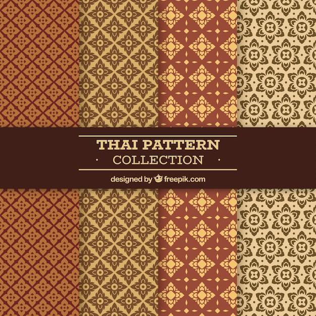 Motif Thaïlandais Coloré Avec Un Design Plat Vecteur gratuit