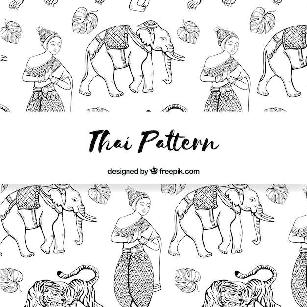 Motif Thaïlandais Noir Et Blanc Avec Un Style élégant Vecteur gratuit