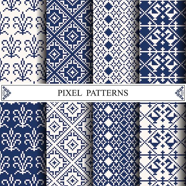 Motif thaïlandais en pixels pour la fabrication de textiles en tissu ou de fond de page web. Vecteur Premium
