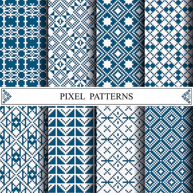 Motif thaïlandais en pixels pour la fabrication de textiles en tissu Vecteur Premium