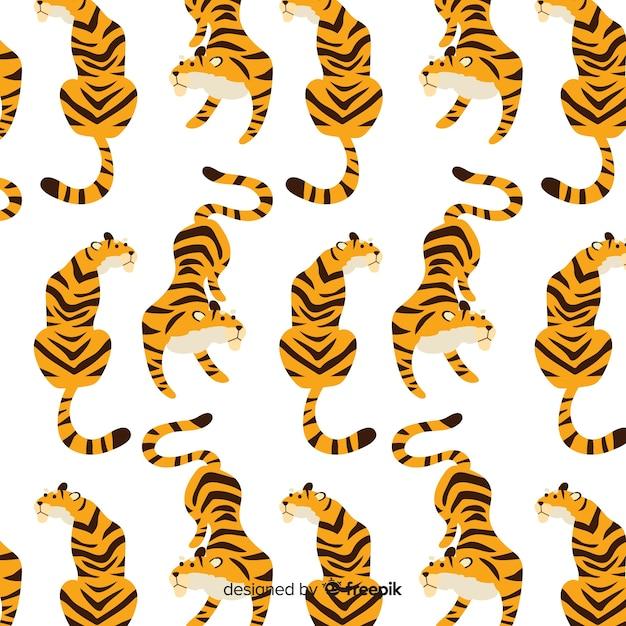 Motif de tigre assis Vecteur gratuit