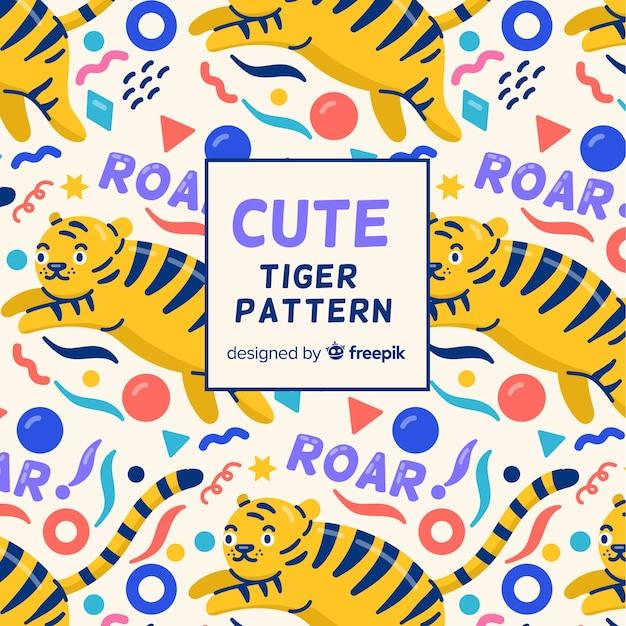 Motif de tigre de formes géométriques Vecteur gratuit