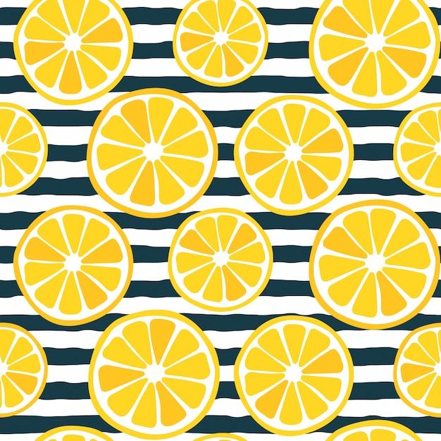 Motif De Tranches De Citron Sans Couture Avec Des Rayures Sombres Vecteur Premium