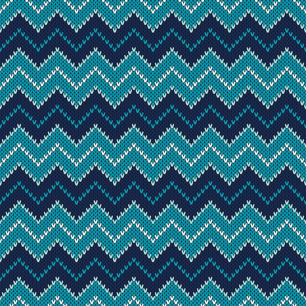 Motif Tricoté Chevron. Conception De Pull En Tricot De Style Fair Isle. Abstrait Tricoté Sans Couture Vecteur Premium