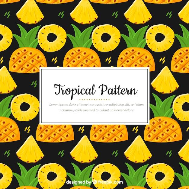 Motif tropical coloré à l'ananas Vecteur gratuit